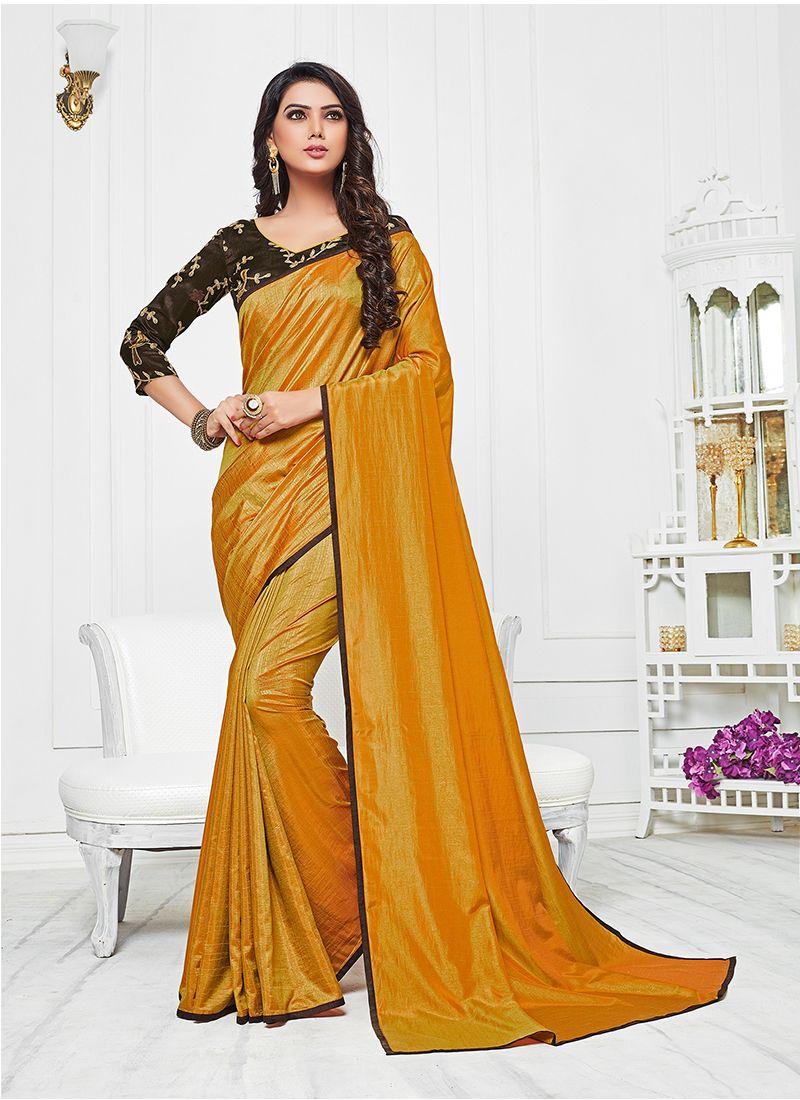 Mustard Satin Silk Silk Saree