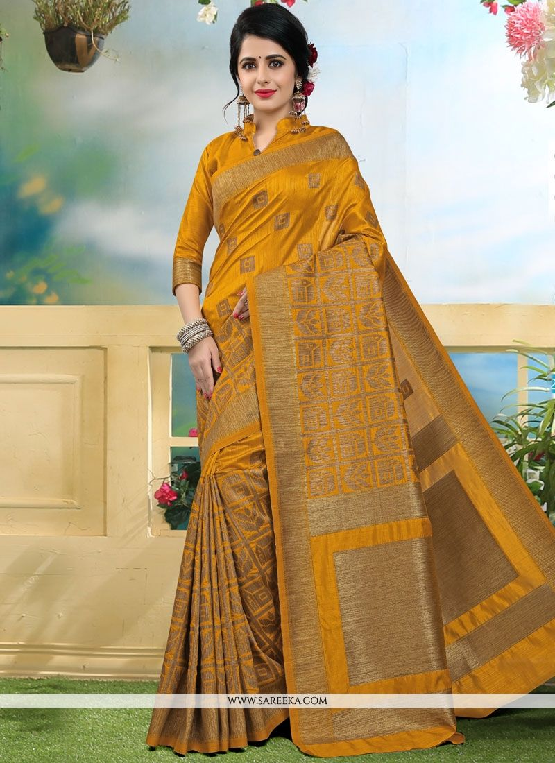 Mustard Weaving Work Art Silk Traditional  Saree