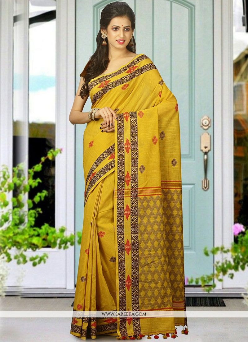 Mustard woven Work Cotton   Designer Traditional Saree