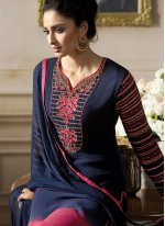 Navy Blue and Pink Faux Georgette Embroidered Pant Style Suit