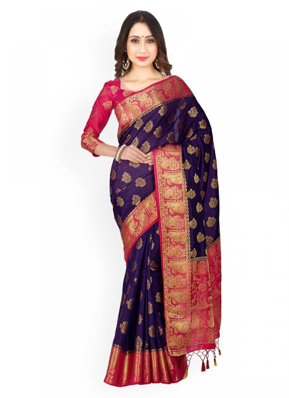 Navy Blue and Rani Weaving Work Classic Designer Saree