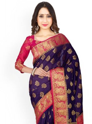 Navy Blue and Rani Weaving Work Classic Designer Saree