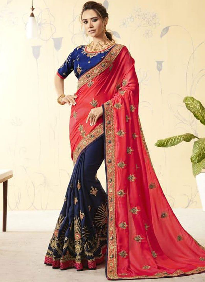 Navy Blue and Red Faux Georgette Embroidered Designer Half N Half Saree