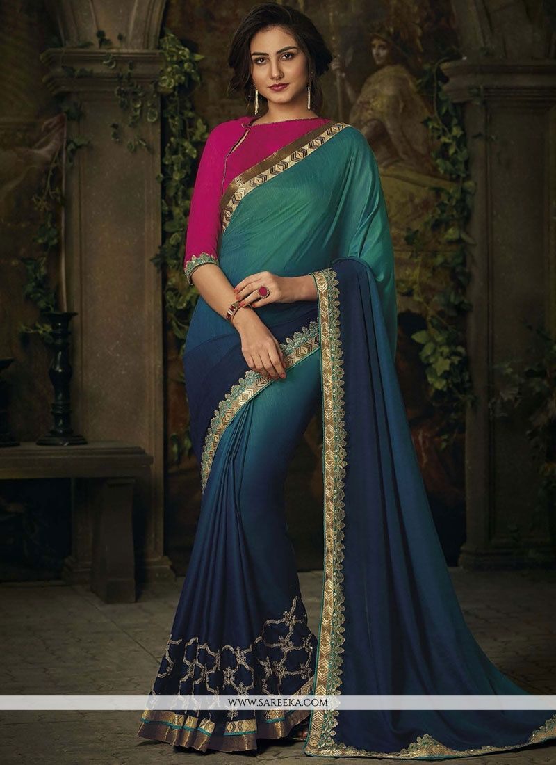 Navy Blue and Sea Green Patch Border Work Art Silk Shaded Saree