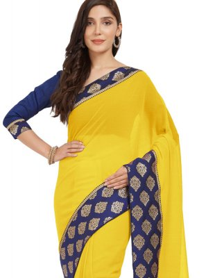Navy Blue and Yellow Casual Saree