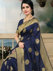 Navy Blue Art Silk Designer Traditional Saree