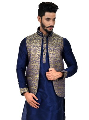 Navy Blue Art Silk Kurta Payjama With Jacket