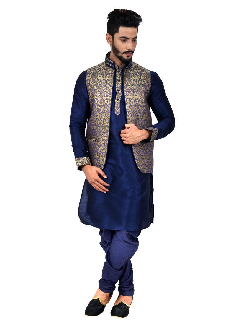 Navy Blue Art Silk Kurta Payjama With Jacket