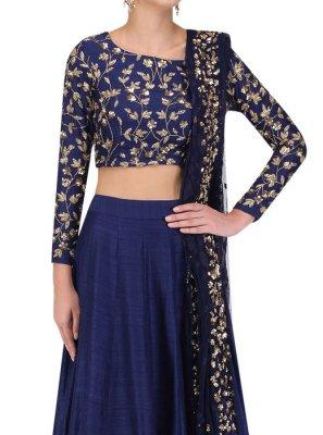 Navy Blue Art Silk Mehndi Designer Lehenga Choli