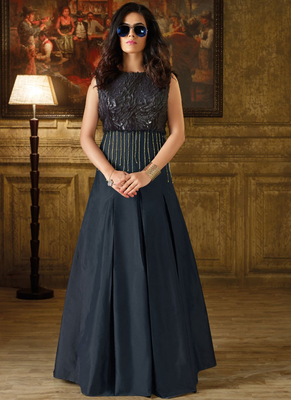 Navy Blue Art Silk Readymade Gown