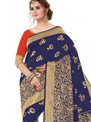 Navy Blue Banarasi Silk Classic Saree