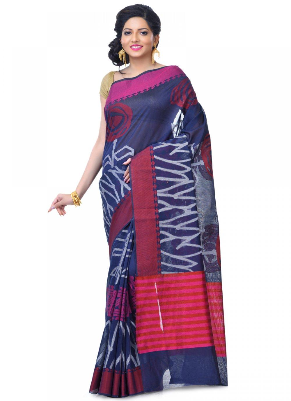 Navy Blue Banarasi Silk Zari Classic Designer Saree
