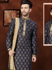 Navy Blue Banglori Silk Plain Work Kurta Pyjama