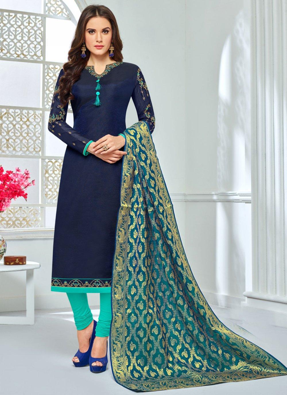 Navy Blue Chanderi Cotton Churidar Salwar Suit