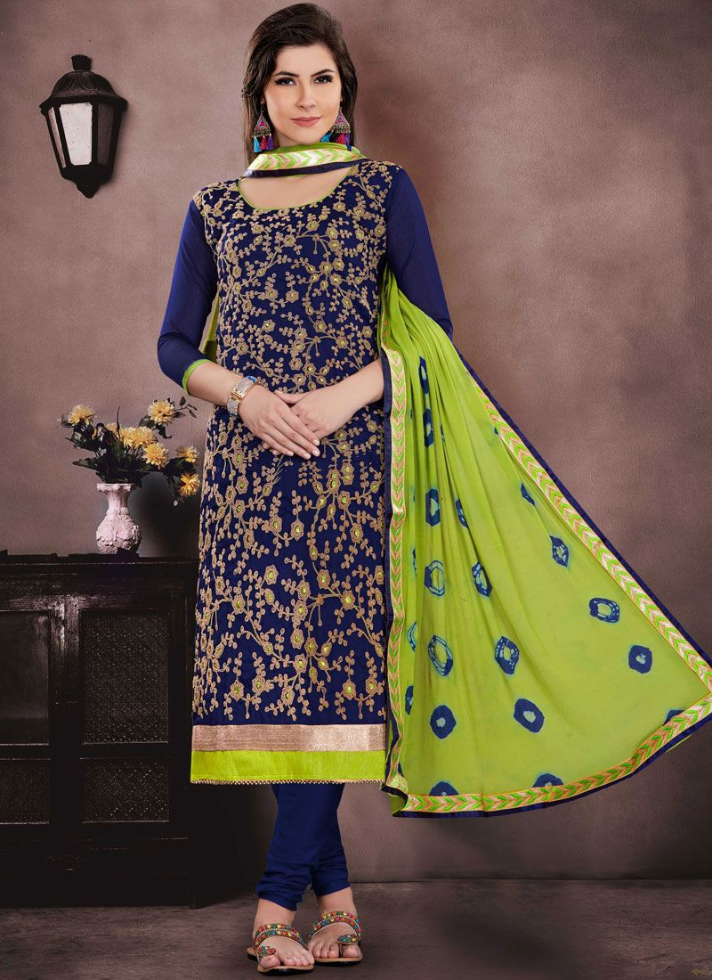 Navy Blue Chanderi Cotton Churidar Suit