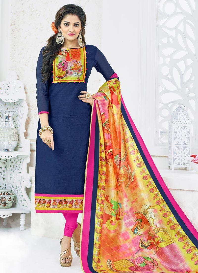 ed3ac1ba09 Buy Navy Blue Churidar Salwar Suit Online : 80053 -