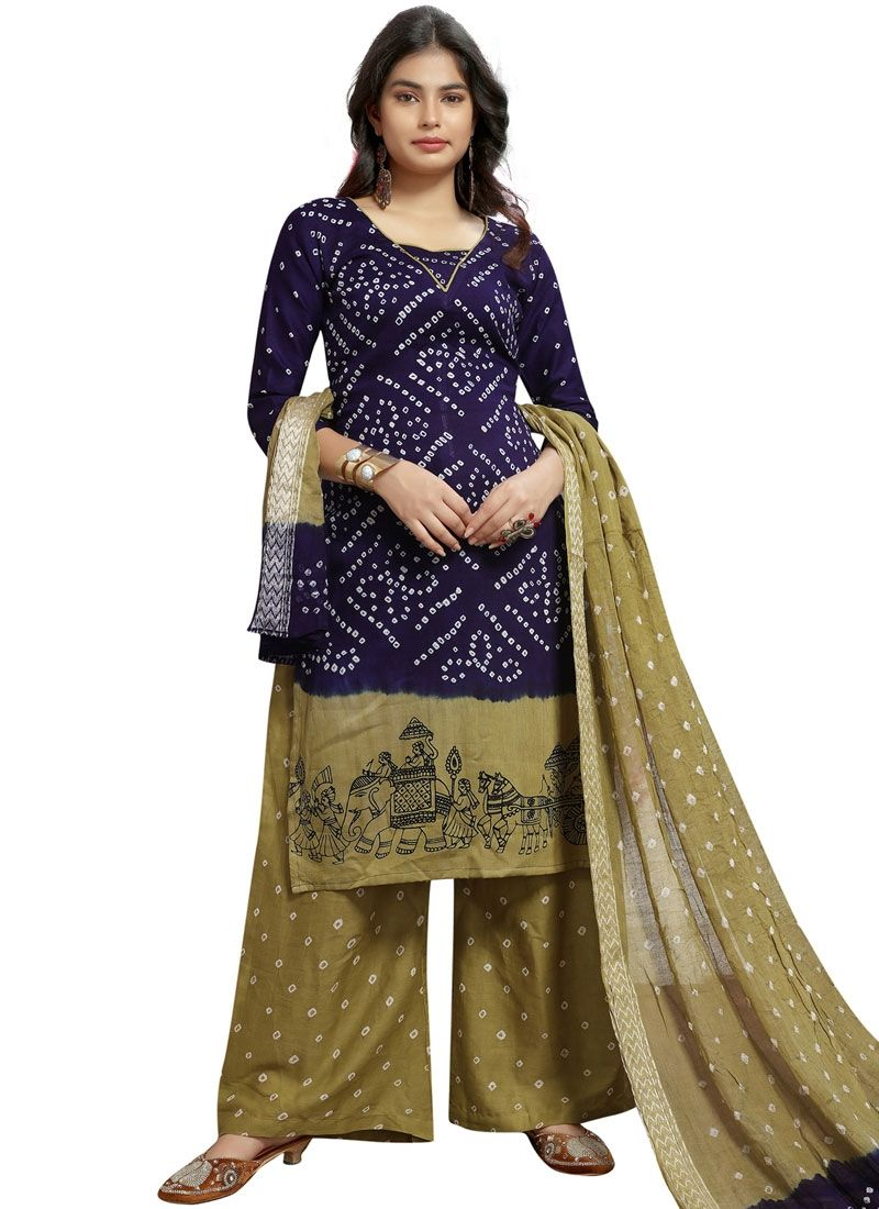 Navy Blue Colored Printed Palazzo type suit