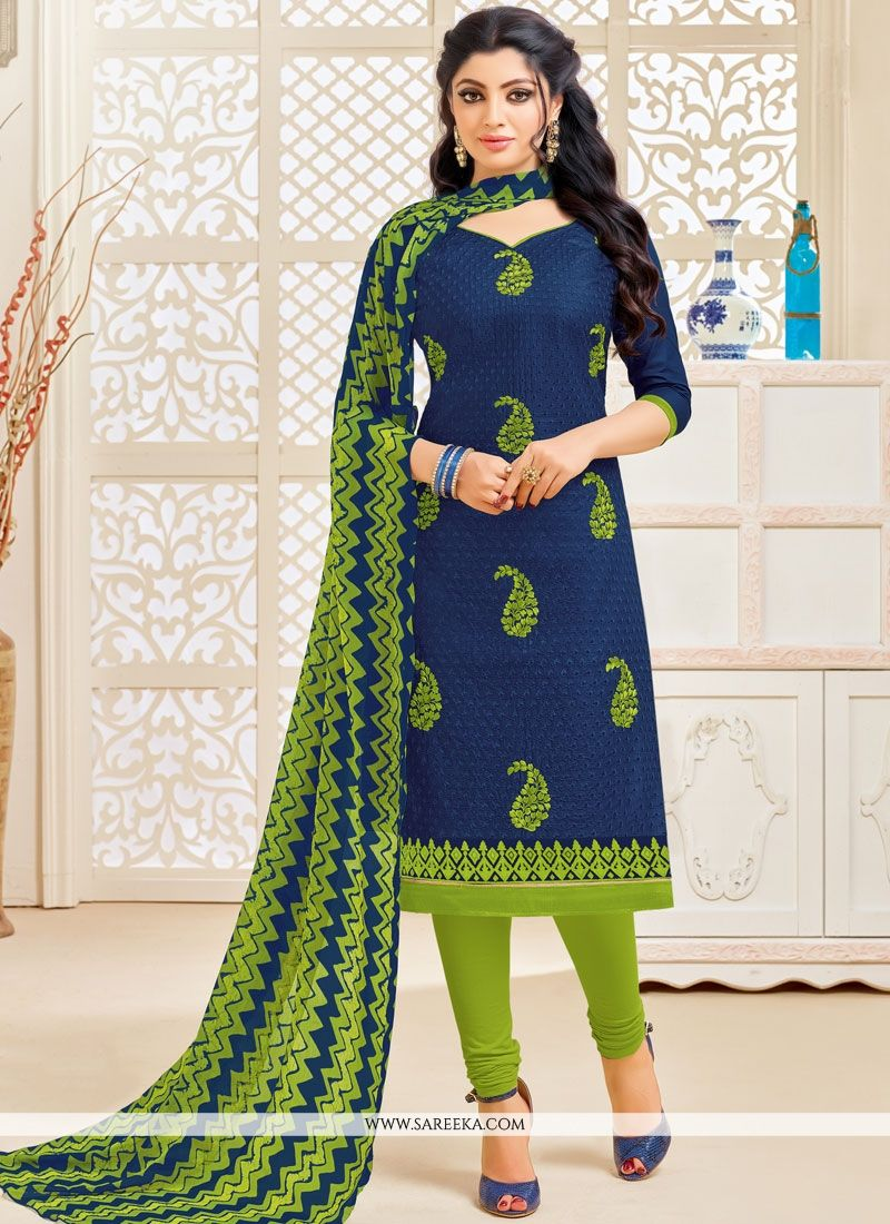 Navy Blue Cotton   Salwar Kameez