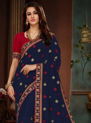 Navy Blue Designer Traditional Saree