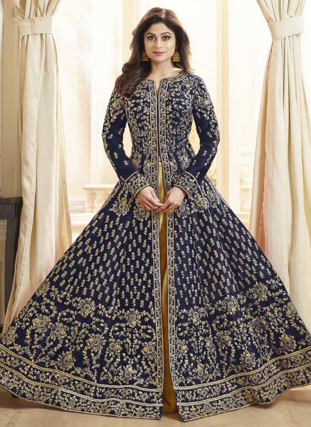 Navy Blue Desinger Anarkali Salwar Suit