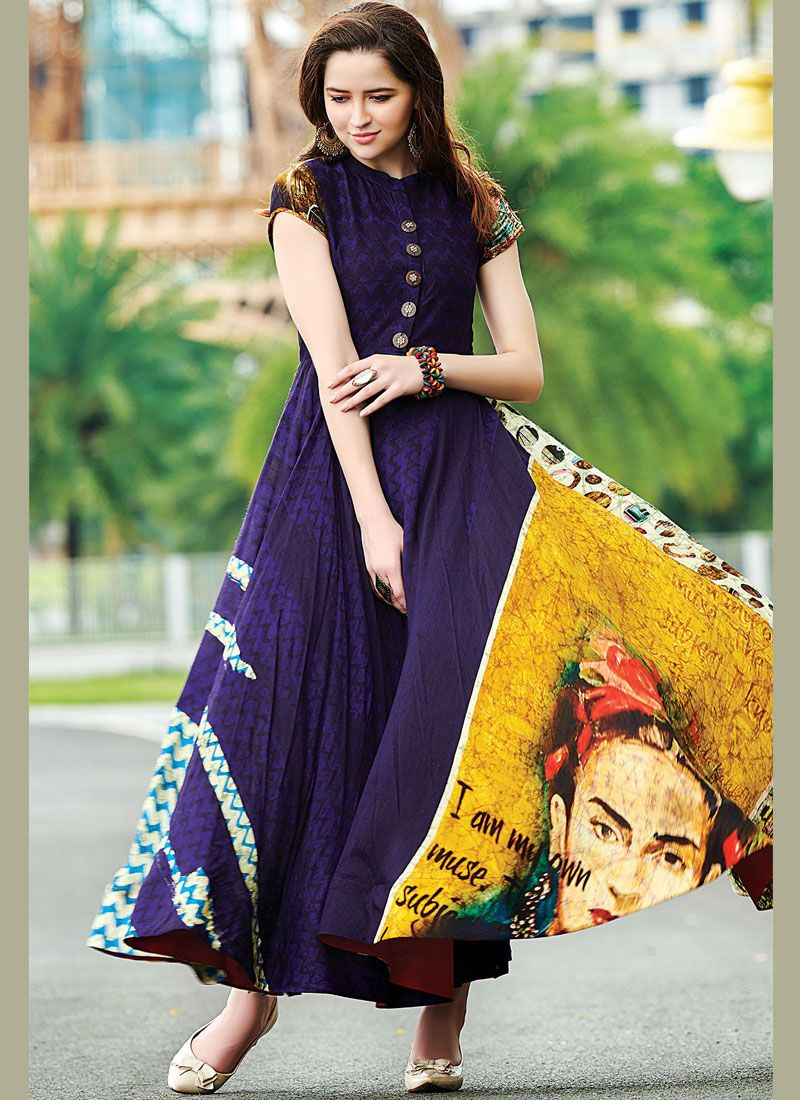 Navy Blue Digital Print Cotton   Readymade Designer Gown