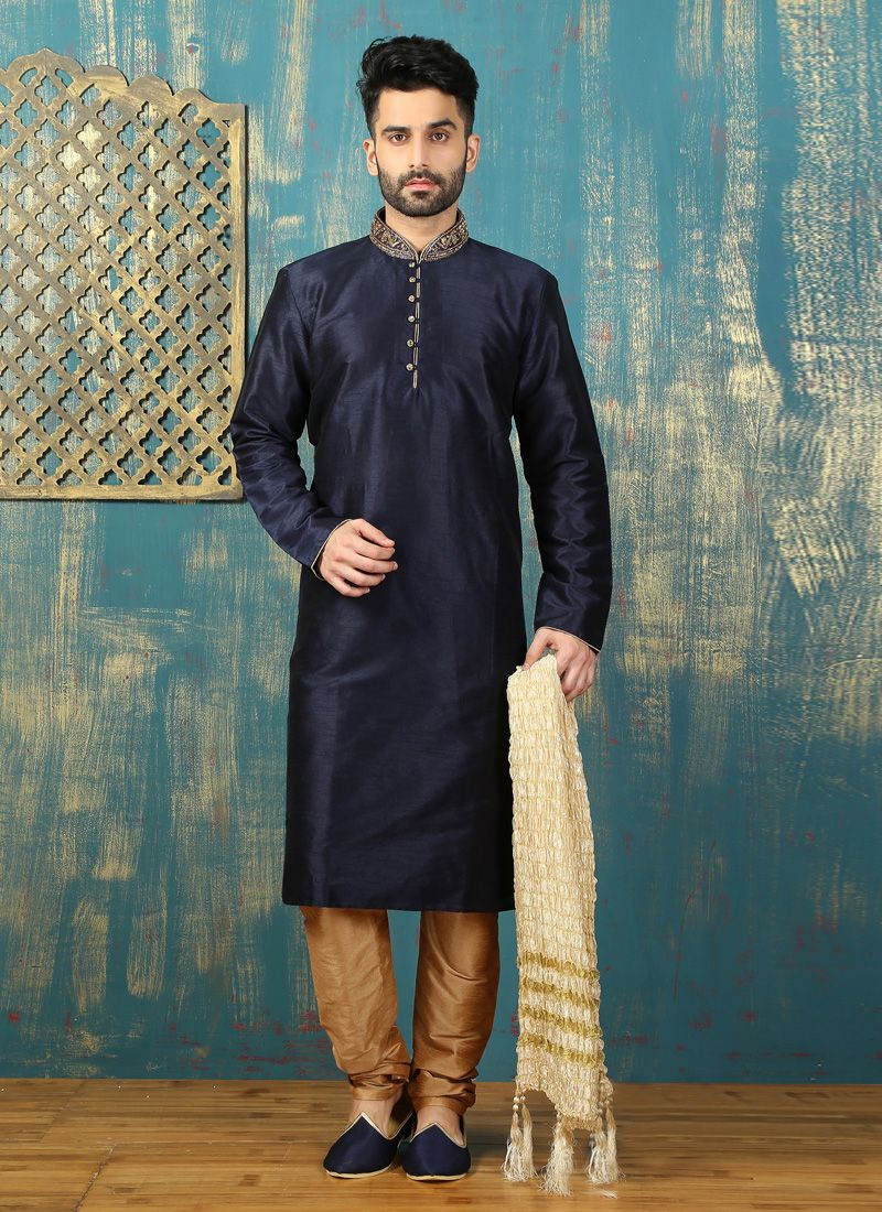Navy Blue Dupion Silk Kurta Pyjama with Embroidered