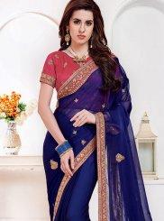 Navy Blue Embroidered Mehndi Classic Saree