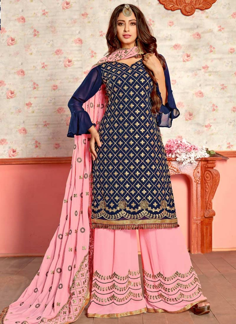 Navy Blue Embroidered Party Designer Palazzo Suit