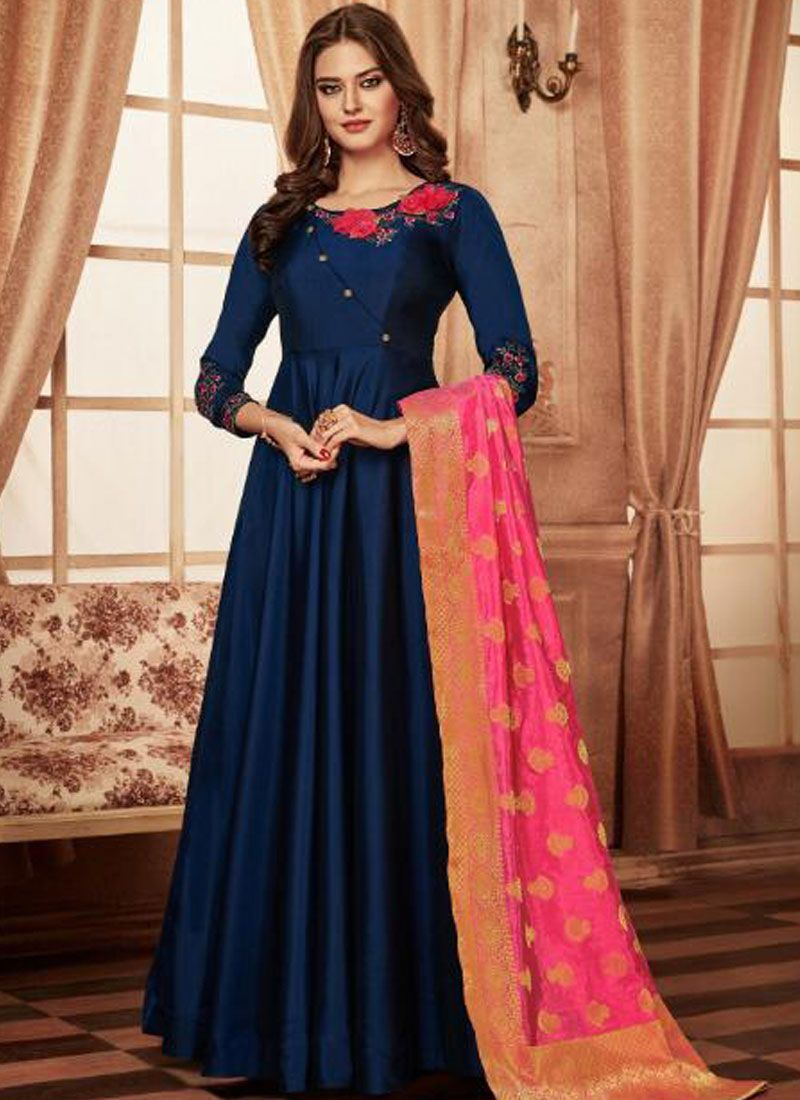 Navy Blue Embroidered Readymade Anarkali Suit