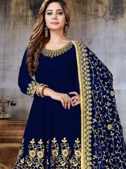 Navy Blue Embroidered Sangeet Anarkali Salwar Suit