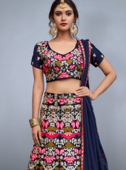 Navy Blue Embroidered Work Art Silk Lehenga Choli