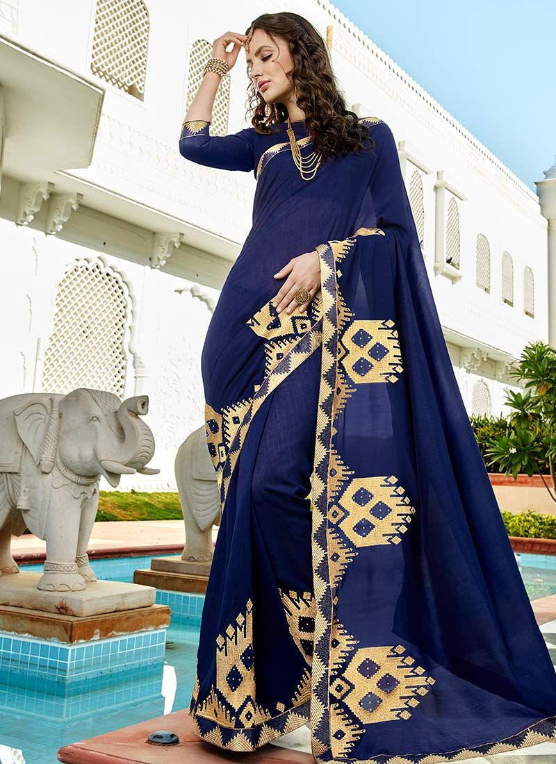 Navy Blue Embroidered Work Bollywood Saree