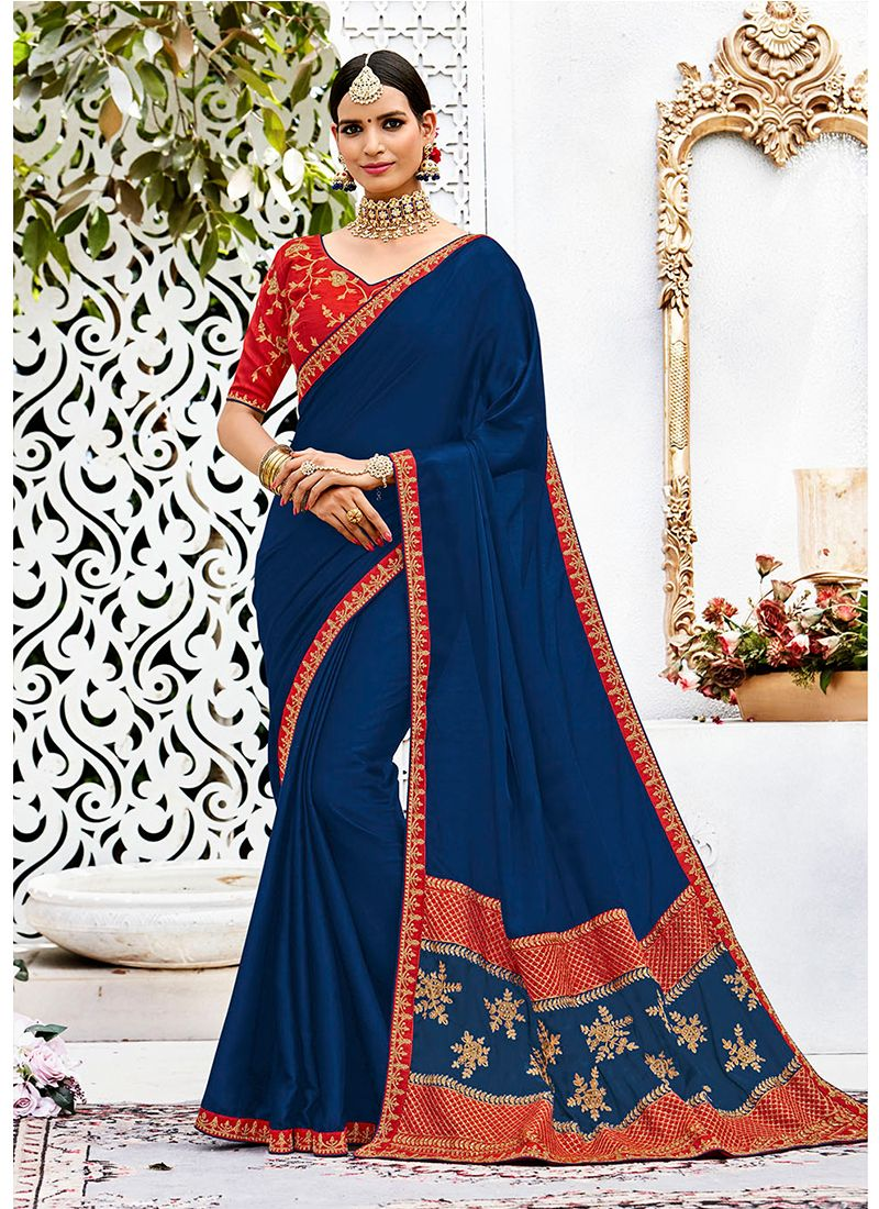 Navy Blue Embroidered Work Contemporary Style Saree