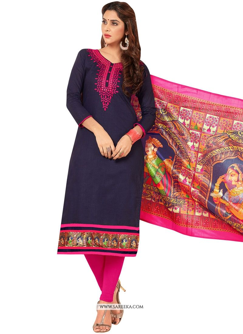 Navy Blue Embroidered Work Cotton   Salwar Suit