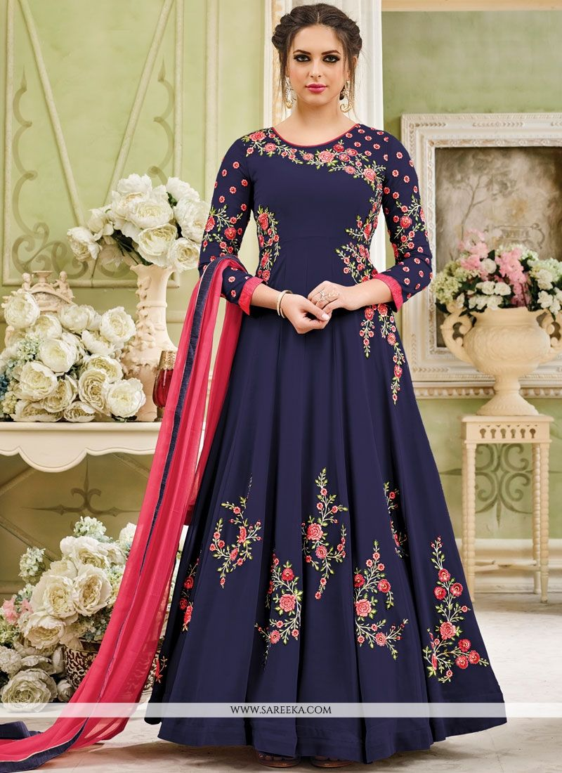 Navy Blue Embroidered Work Faux Georgette Anarkali Salwar Kameez