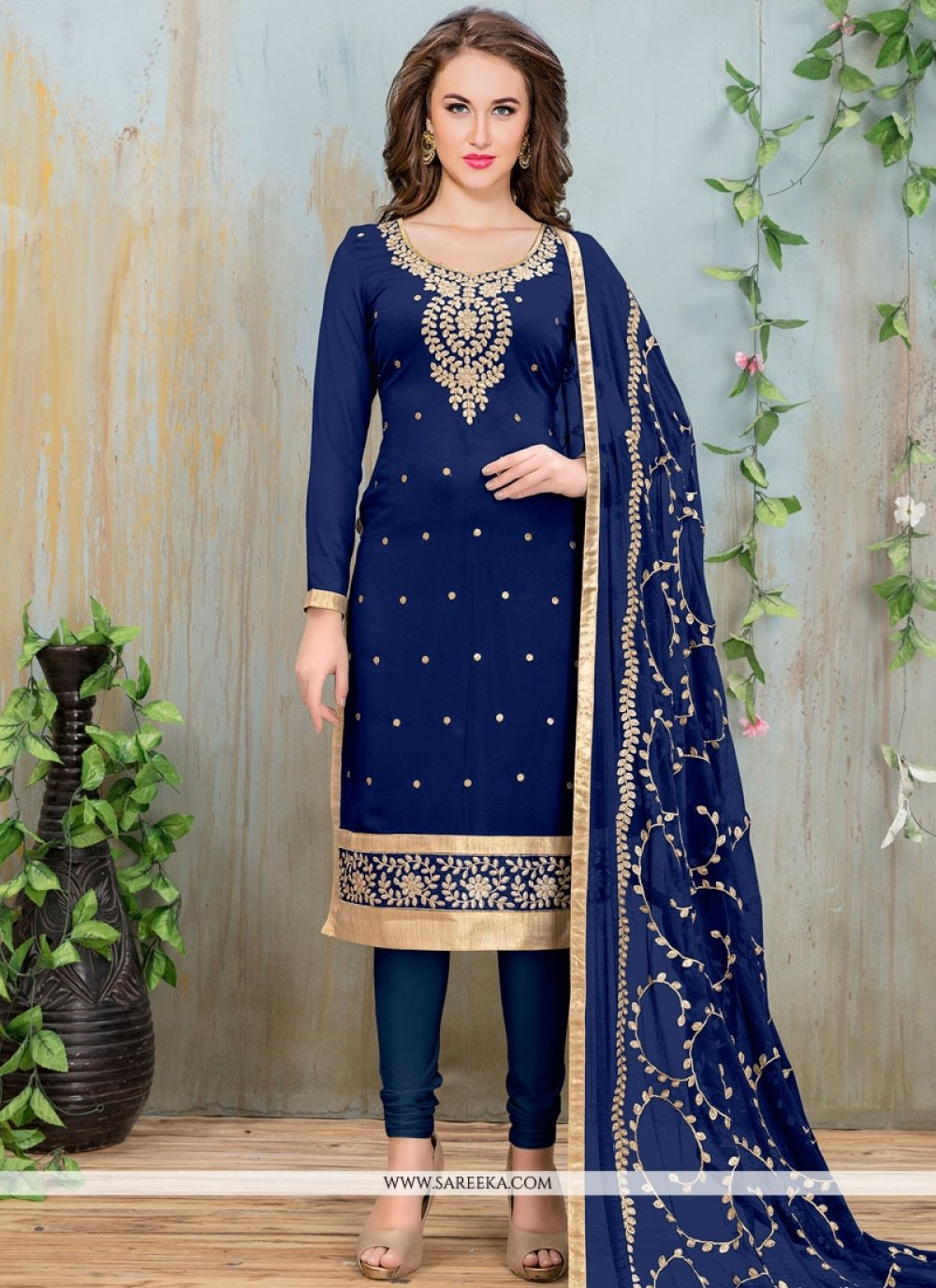 Navy Blue Embroidered Work Faux Georgette Churidar Suit