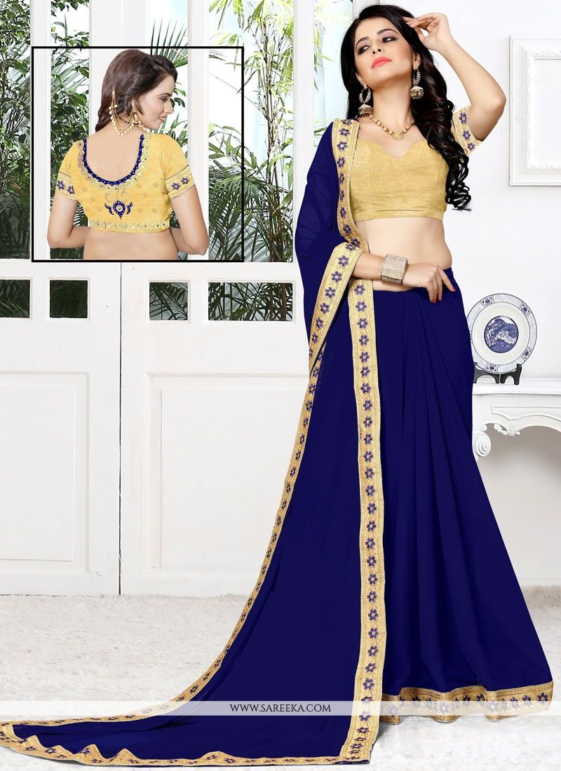 Navy Blue Embroidered Work Faux Georgette Designer Saree
