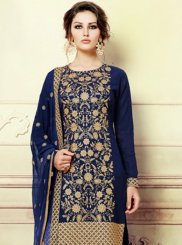 Navy Blue Embroidered Work Faux Georgette Pant Style Suit