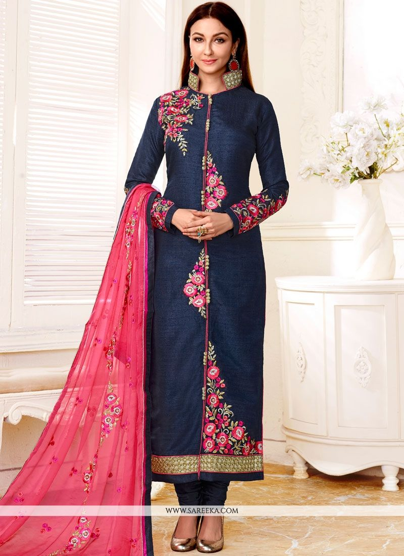 Navy Blue Faux Georgette Designer Straight Suit