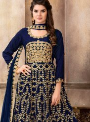 Navy Blue Lace Floor Length Anarkali Suit