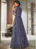 Navy Blue Net Resham Floor Length Anarkali Suit
