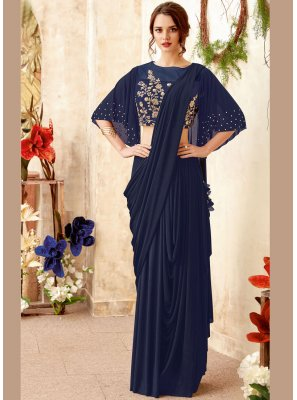 Navy Blue Party Trendy Saree