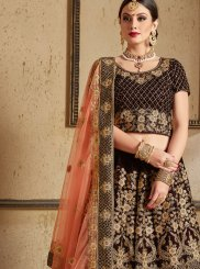 Navy Blue Patch Border Work Velvet Lehenga Choli