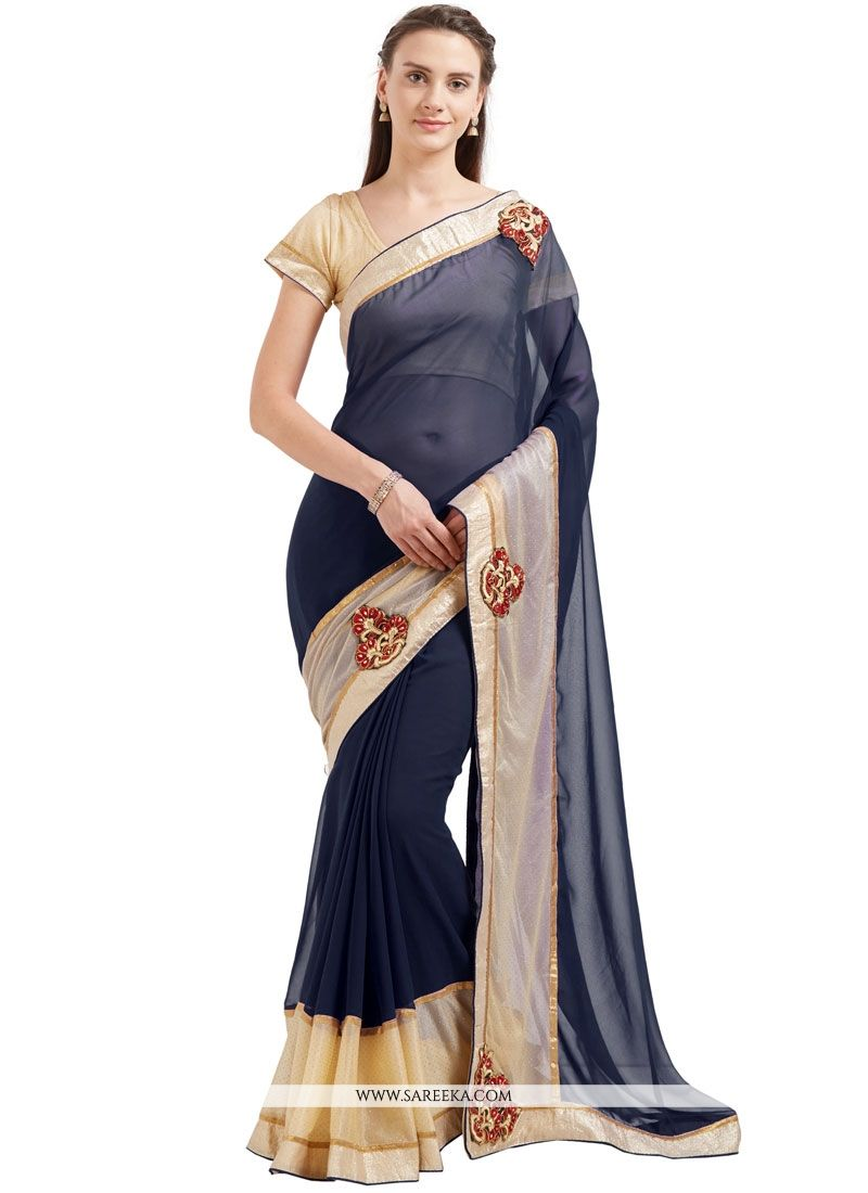 29acf7c8ac Navy Blue Patch Work Work Faux Georgette Casual Saree buy online -