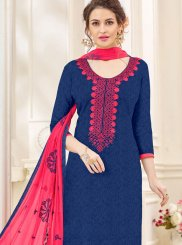 Navy Blue Patchwork Cotton   Churidar Salwar Kameez