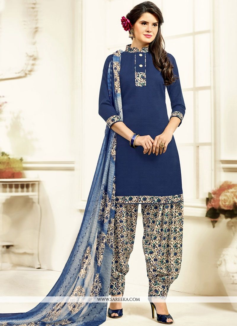 Navy Blue Printed Work Work Patiala Salwar Kameez