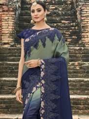 Navy Blue Resham Bridal Designer Traditional Saree