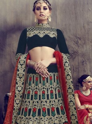 Navy Blue Resham Work Lehenga Choli