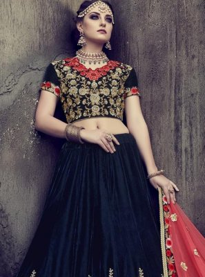 Navy Blue Resham Work Velvet Lehenga Choli