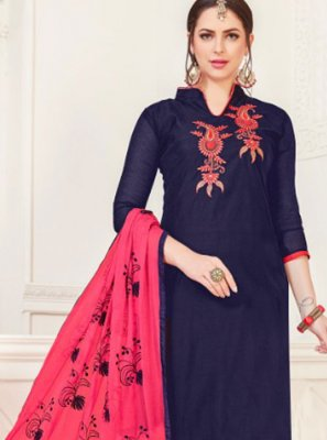 Navy Blue Silk Churidar Salwar Kameez